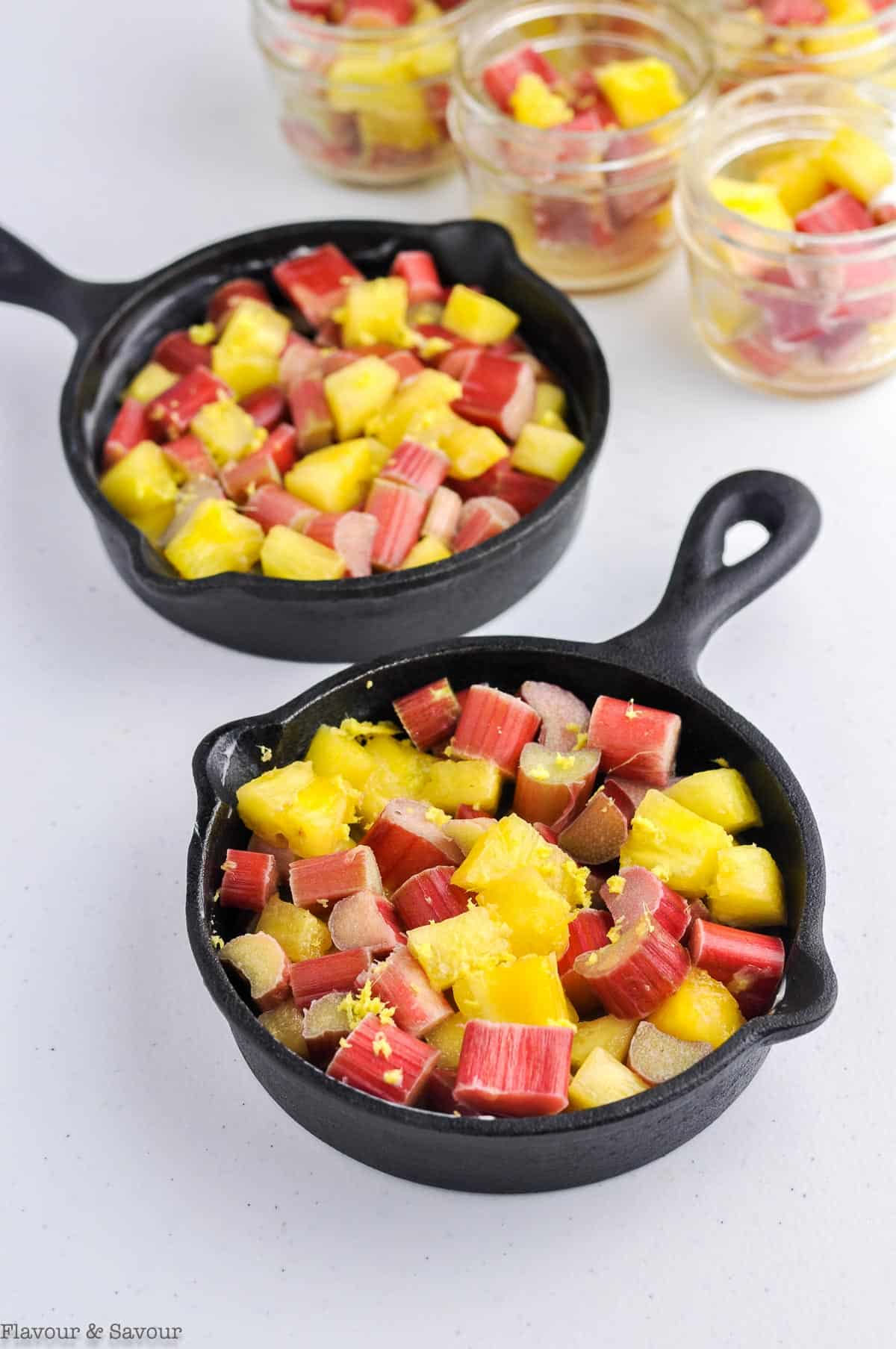 Pineapple Rhubarb mixture in mini skillets
