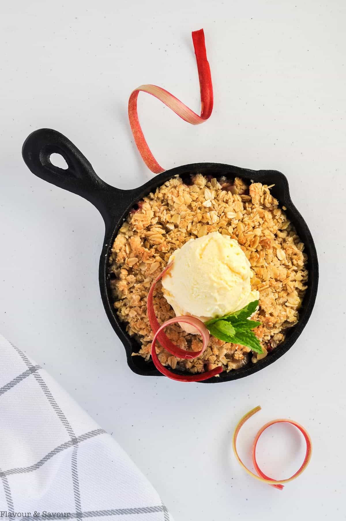 one mini skillet with Pineapple Rhubarb Crisp