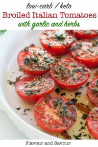 Broiled Italian Tomatoes with garlic and herbs pin