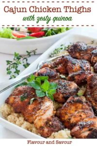 Cajun Chicken Thighs with Zesty Quinoa pin