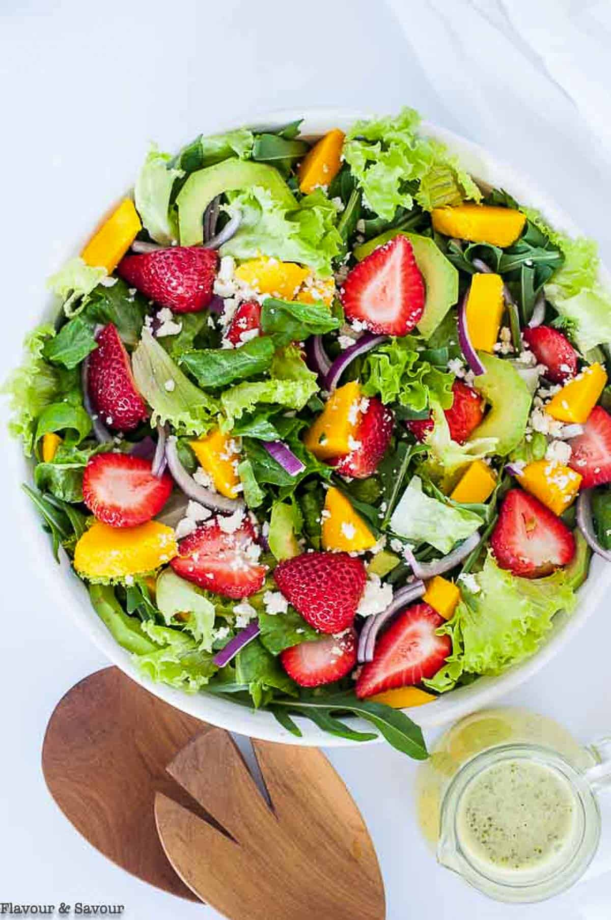Overhead view of Strawberry Mango Arugula Salad