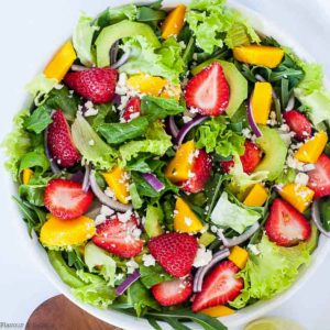 Strawberry Mango Arugula Salad overhead view