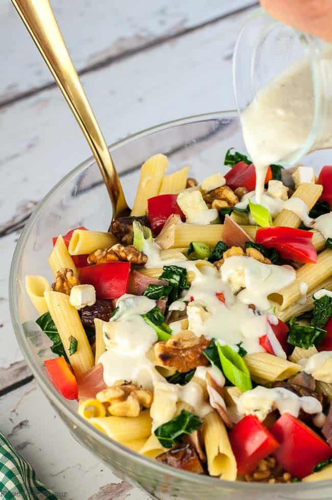 Tuscan Kale Pasta Salad with Gorgonzola Dressing