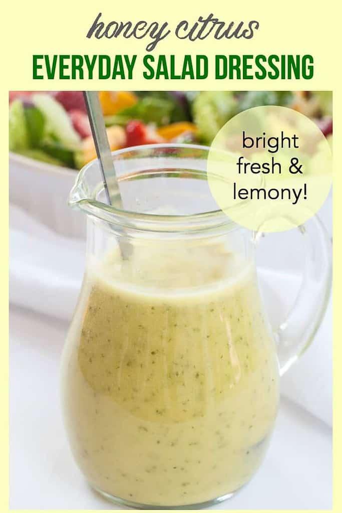Pinterest pin for Honey Citrus Salad Dressing