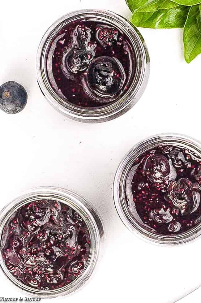 Overhead view of jars of Blueberry Basil Chia Seed Jam