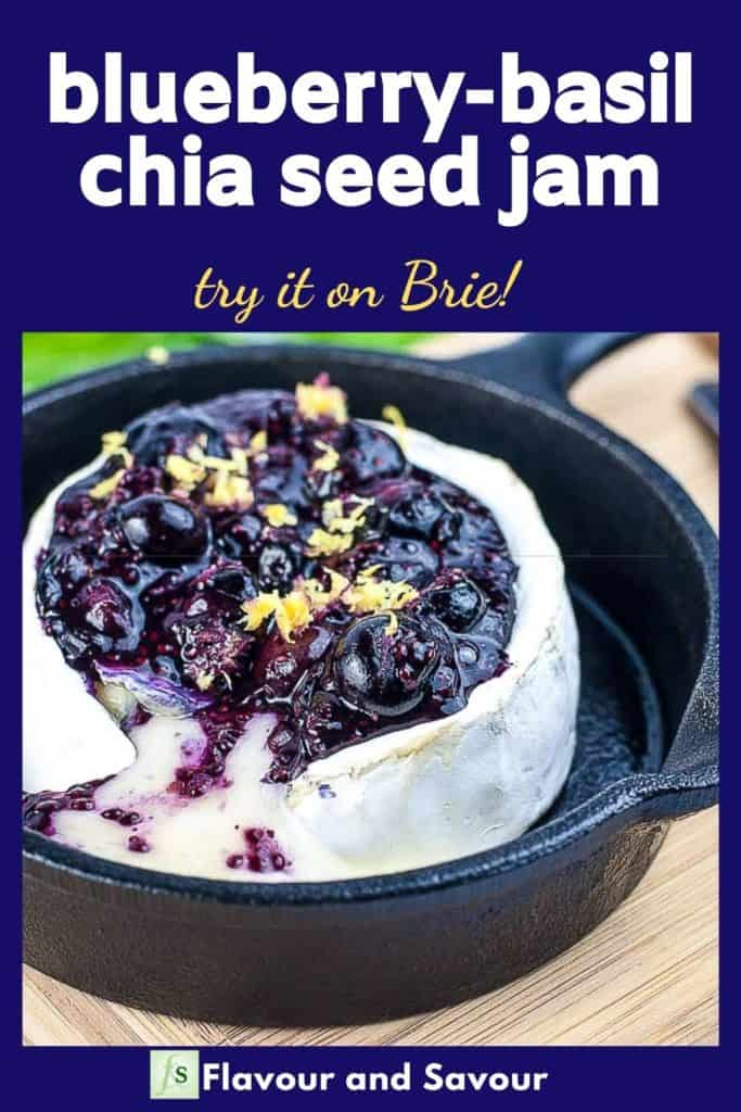 Image and text overlay for Blueberry Basil Chia Seed Jam