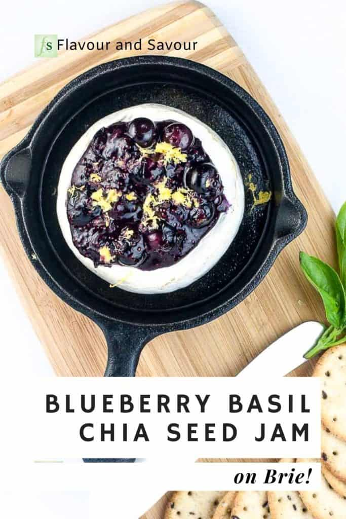 Pinterest image for Blueberry Basil Chia Seed Jam