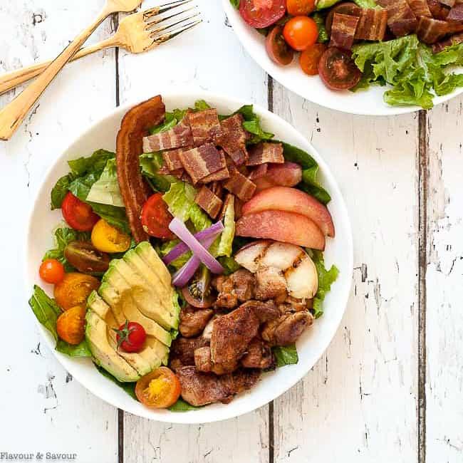 A round bowl of Chipotle Chicken Cobb Salad