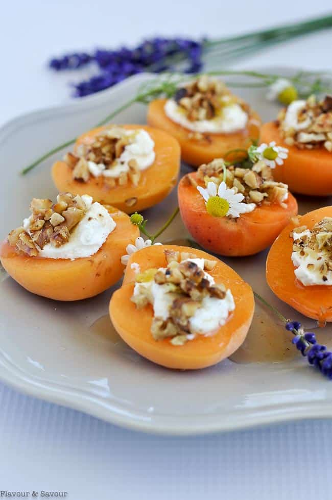 Fresh Apricots with Goat Cheese, walnuts and lavender honey on a gray plate as a finger food appetizer.