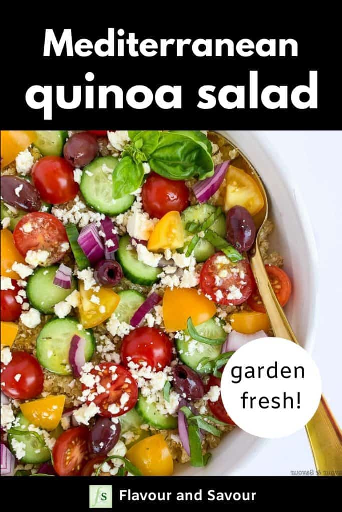 Mediterranean Quinoa Salad with text overlay