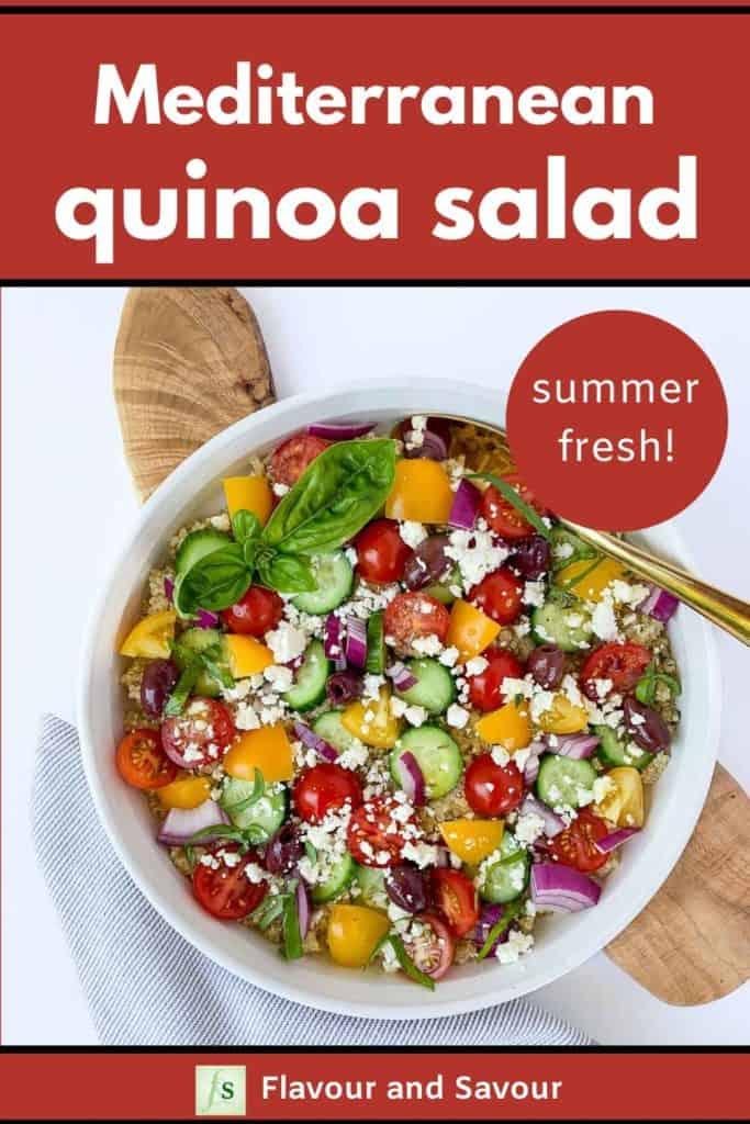 Summer Fresh Mediterranean Quinoa Salad with text overlay