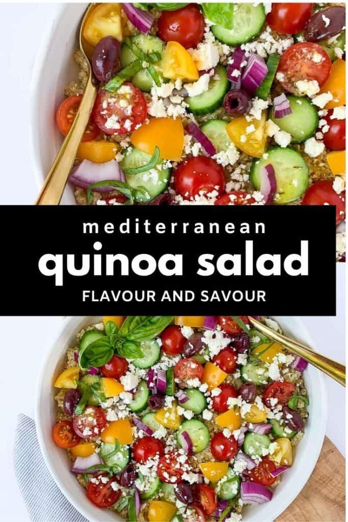 Pinterest pin for Mediterranean Quinoa Salad