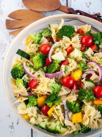 Summer Veggie Pasta Salad overhead view