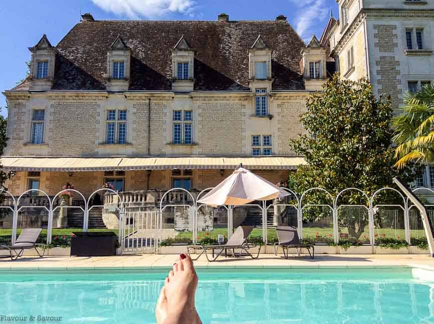 Swimming pool with chateau in the background