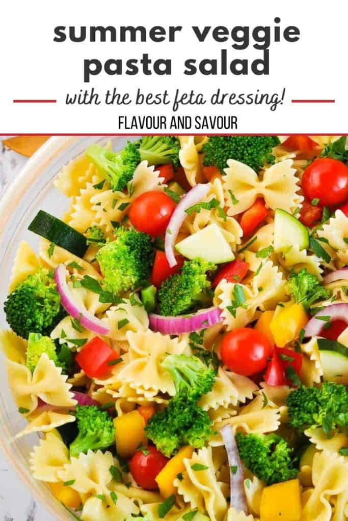 image and text for summer veggie pasta salad