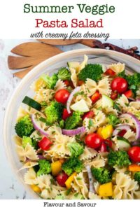 Pinterest Pin for Summer Veggie Pasta Salad with Feta Dressing
