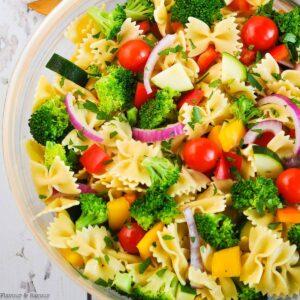 Summer Veggie Pasta Salad close up view