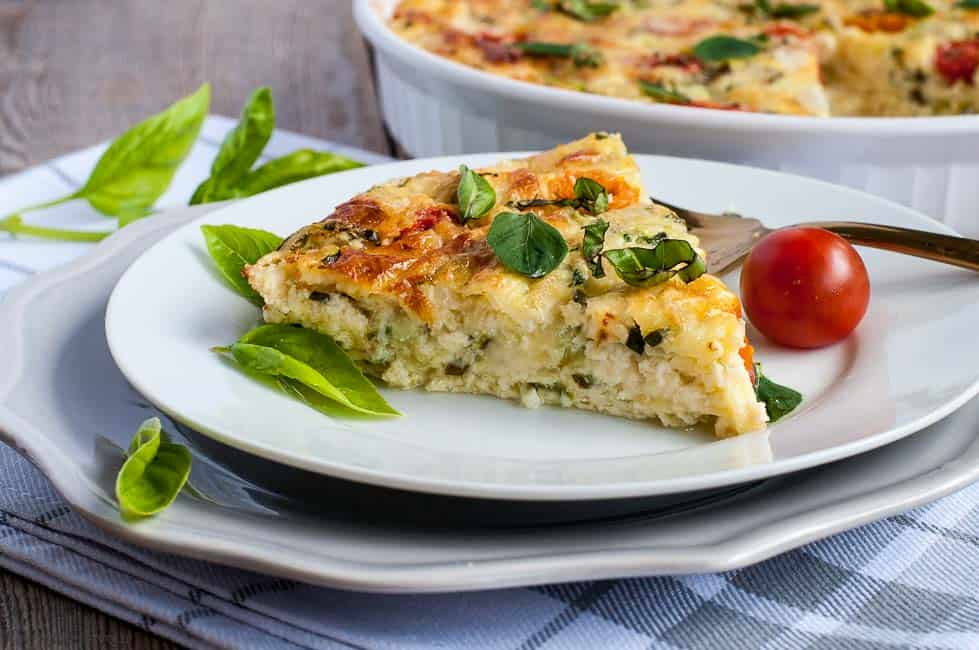 A slice of Cheesy Crustless Zucchini Quiche