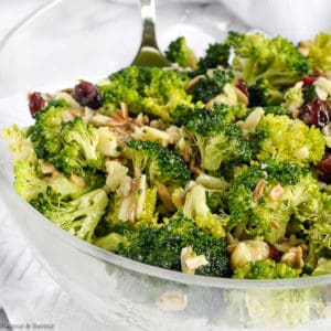 Broccoli Salad with Cranberries close up view
