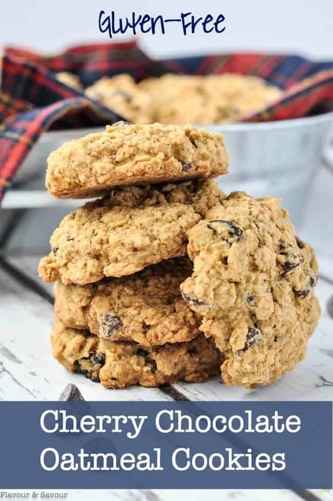 Pin for Cherry Chocolate Oatmeal Cookies