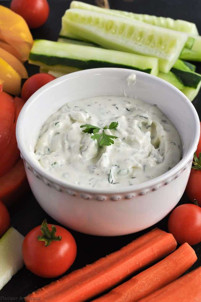 Close up view of Herbed Feta Dip with Lemon