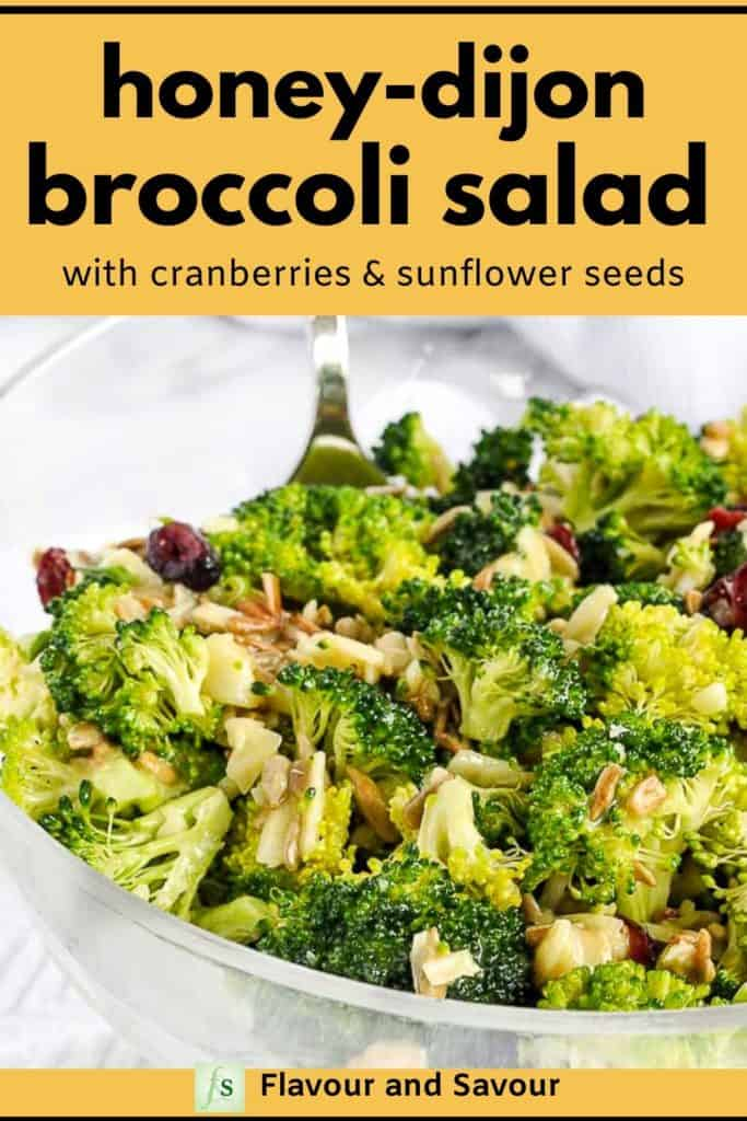 Honey-Dijon Broccoli Salad with text overlay