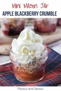 PInterest Pin for Mini Mason Jar Apple Blackberry Crumble