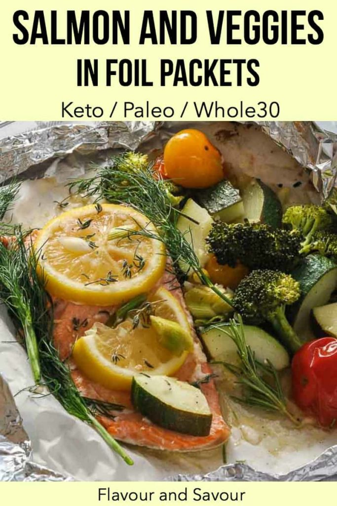 Pinterest Pin for Salmon and Veggies in Foil Packets