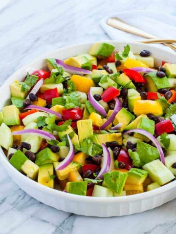 Tomato Avocado Black Bean Salad with Cilantro Lime Dressing
