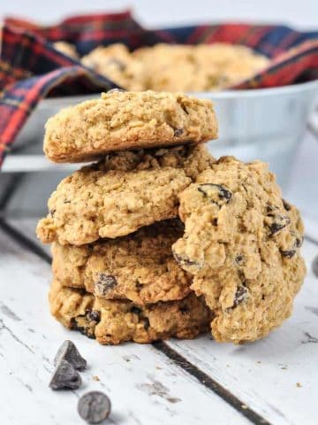 Gluten-free Cherry Chocolate Oatmeal Cookies in a stack