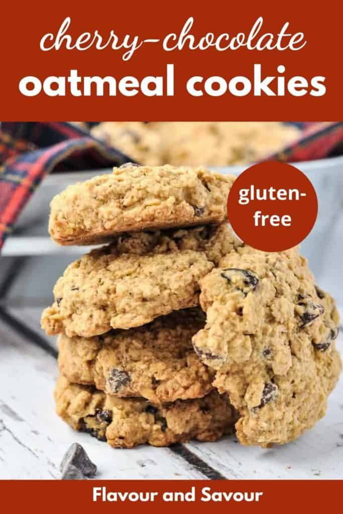 pinterest pin for Cherry Chocolate Oatmeal Cookies
