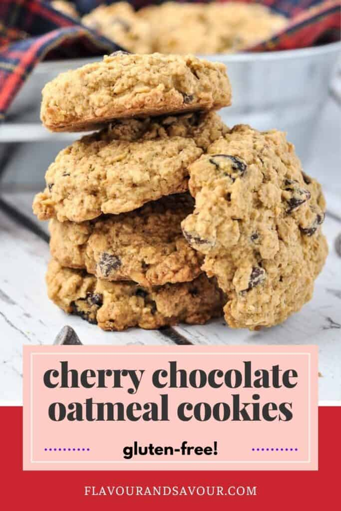 Text and image for Gluten-Free Cherry Chocolate Oatmeal Cookies