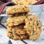 a stack of Gluten-free Cherry Chocolate Oatmeal Cookies