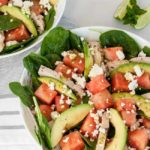 overhead view of Chicken Avocado Watermelon Salad with Feta cheese
