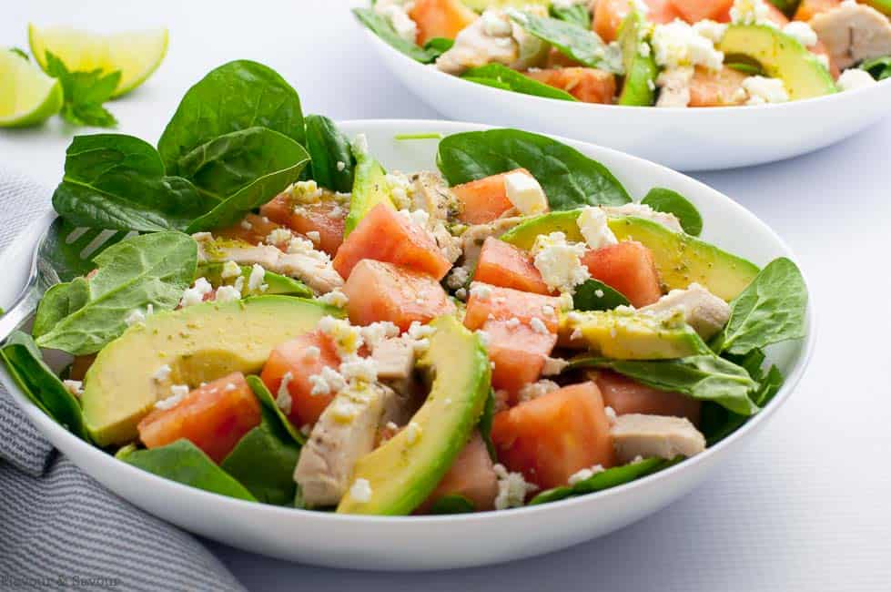Two bowls of Chicken Avocado Watermelon Salad