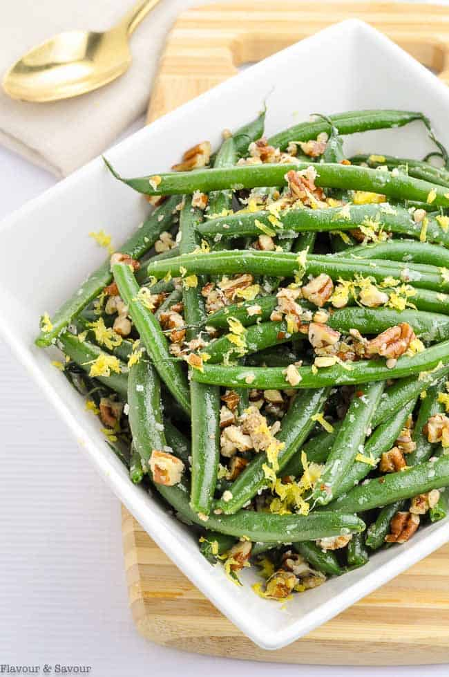 Skillet Parmesan Pecan Green Beans in a square white bowl
