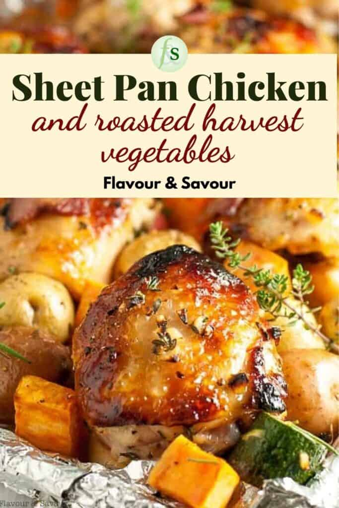 Image with text overlay for sheet pan chicken and roasted vegetables
