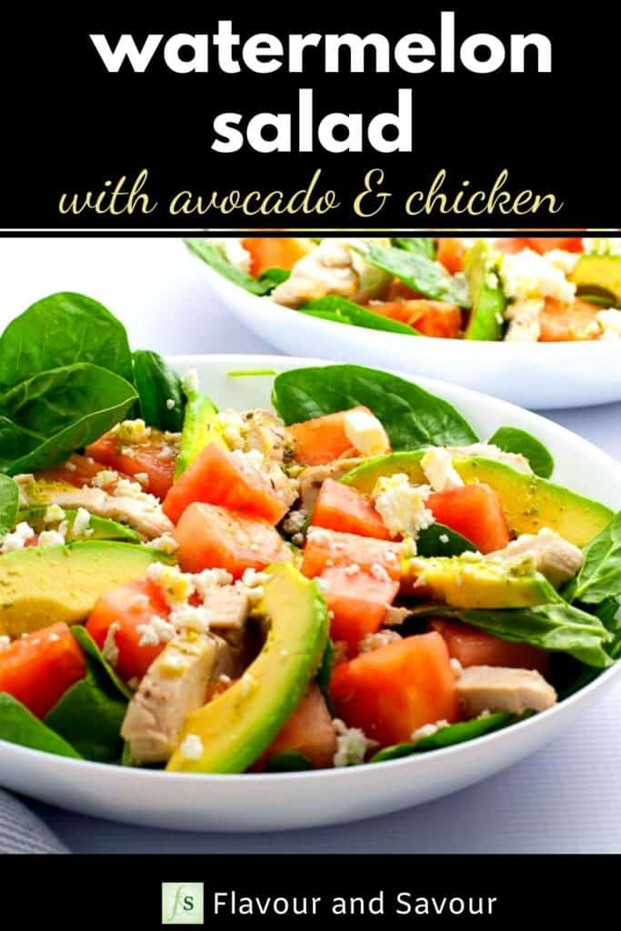 Watermelon Salad with Avocado and Chicken Pinterest pin