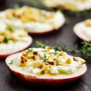 Whipped Feta Apple Hazelnut Crostini close up view