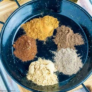 small mounds of spices in a black dish