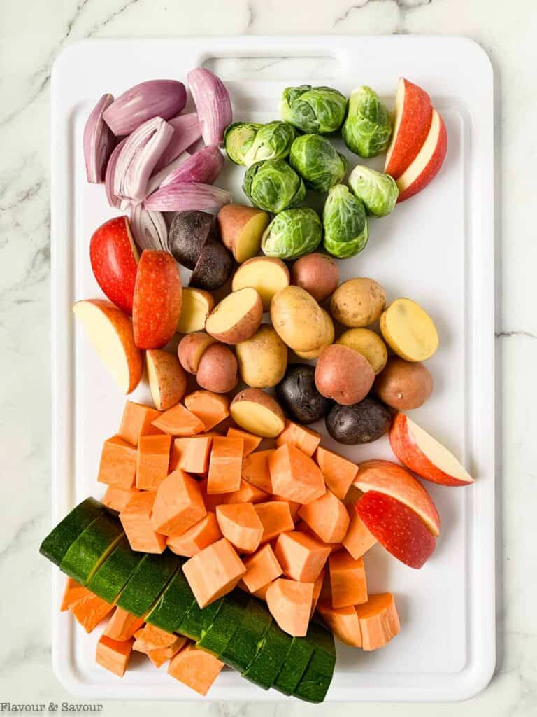 vegetables for roasting on a sheet pan