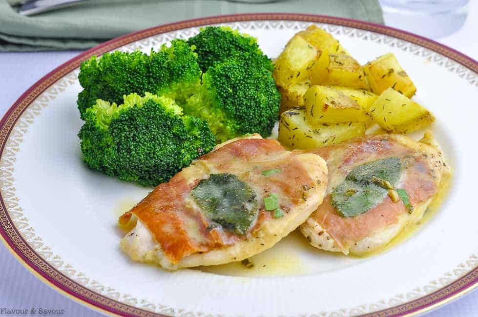 Chicken Saltimbocca with broccoli and roasted potatoes
