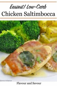 Pinterest Pin for Low Carb Chicken Saltimbocca
