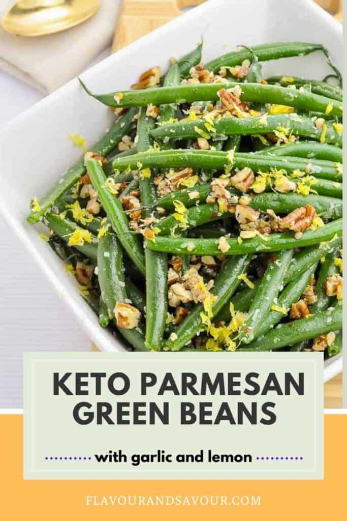 a bowl of Parmesan green beans with pecans and lemon zest
