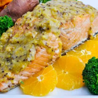 Mandarin Orange Miso Glazed Salmon with orange slices