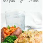 One pan Mandarin Orange Miso Glazed Salmon with sweet potato and broccoli