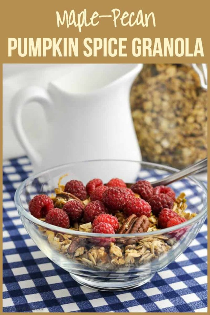 Pinterest Pin for Maple Pecan Pumpkin Spice Granola