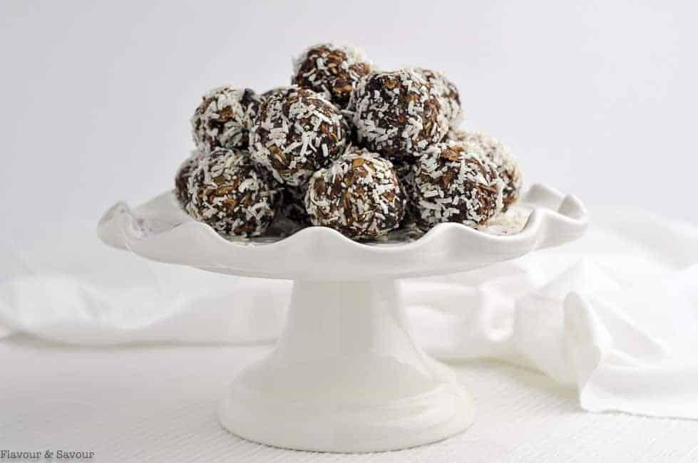 Chocolate Snowballs on a pedestal plate