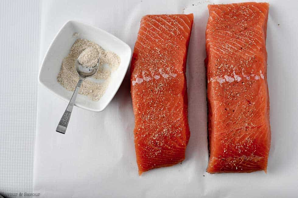 Two salmon fillets for Orange Miso Glazed Salmon