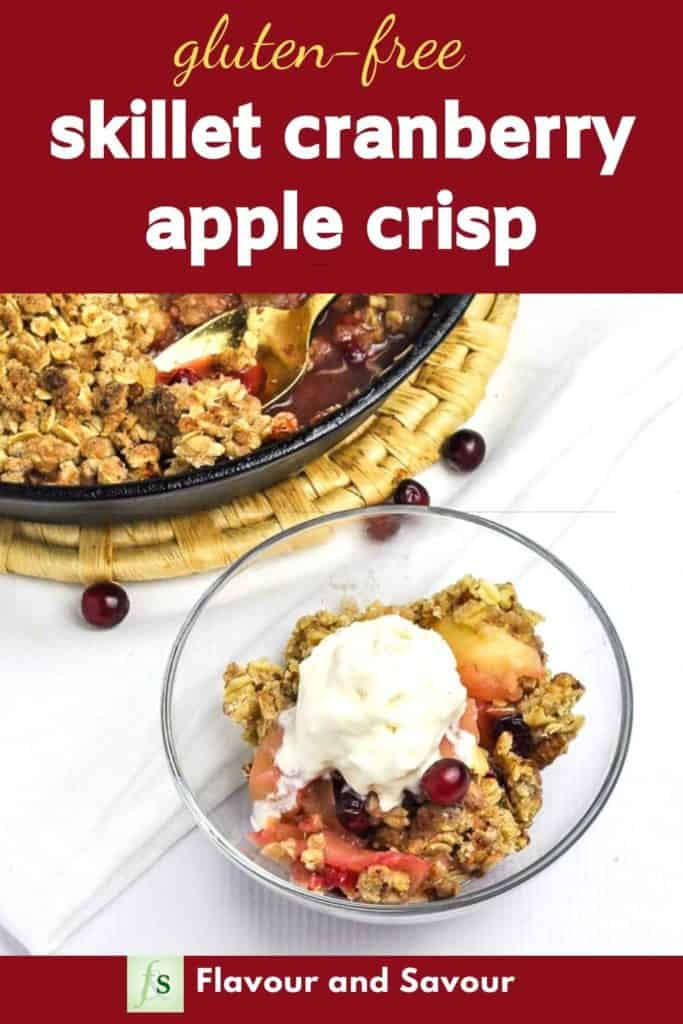 Graphic for Skillet Cranberry Apple Crisp with text overlay